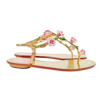 Brand New Rene Caovilla Thong Sandals With Leather Rosettes and Crystals