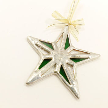 Green Christmas Star Stained Glass Christmas Tree Ornament Free Shipping