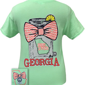 Girlie Girl Originals Georgia Chevron Mason Jar Preppy State Bow Bright T Shirt