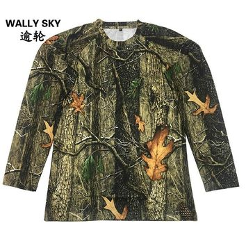 Men Long Sleeve Quick Dry Hunting Breathable Military Camouflage T-shirt Bionic Fishing Shirt Outdoor Airsoft Tactical Clothing