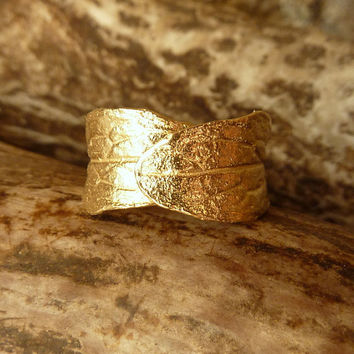 Wide Leaf Band - Adjustable, 14k Gold