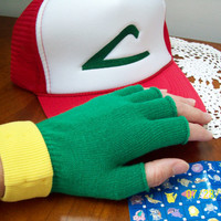 Pokemon Ash Ketchum Cosplay HAT & GLOVES - 2 pc Set Costume Kids/Adult