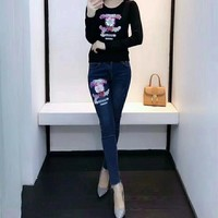"""Chanel"" Women Fashion Flower Logo Letter Long Sleeve Knitwear Sweater Jeans Trousers Set Two-Piece"