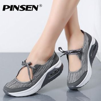 Summer Women Flat Platform Sandals Shoes Woman Casual Air Mesh Comfortable Breathable Shoes Lace up zapatillas mujer
