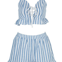 Blue Striped Ruffle Trims Lace Up Front Cropped Top and Shorts