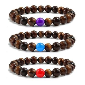 Fashion 8MM Tiger Eye Stone Chalcedony Beads Yoga Bangles for Women Men Charm Buddha Prayer Meditation Bracelets Elastic Jewelry