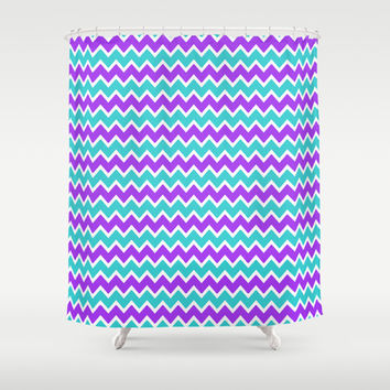 Teal and Purple Chevron Shower Curtain by decampstudios