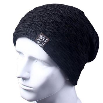 ac PEAPO2Q Casual Brand Men Winter Hat Beanie Hats Fur Warm Baggy Knitted Skullies Bonnet Ski Sports Adult Cap New Arrival Beanies