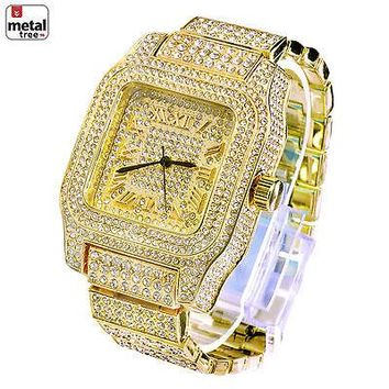 Jewelry Kay style Men's Fashion Stainless Steel Back Iced Out Heavy Metal Band Watches WM 7967 G