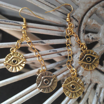 Gold Evil Eye Charm Earrings by allthingswildandfree on Etsy
