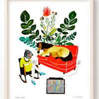 Art, Humor, Horse, Vintage Toys, Poster, Animals, Animal mask, Red, Books, Reading, Animal Lover, Quirky, Almost Happy- Fine Art Print