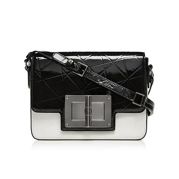 Tom Ford Women's Natalia White/Black Chalk Patent Leather Handbag L0819R