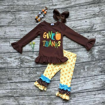 baby girls thanksgiving clothing girls give pumpkin thanks outfits children brown top with polka dot pant with accessories