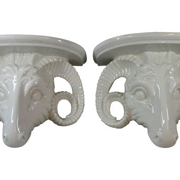 Italian Rams Head Wall Shelves, Pair