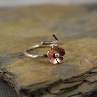 Cherry Blossom Branch Adjustable Ring Metalshmithing by HapaGirls