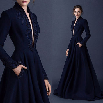 Navy Blue Satin Embroidery Wedding Dresses Deep V Neckline Beading Bridal Gown With Pockets Long Sleeves Wedding Gown Modest