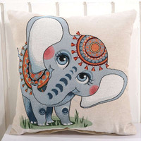 Cute Mandara Elephant Pillow Case