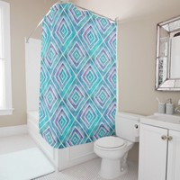Abstract geometric blue and purple square tiles shower curtain