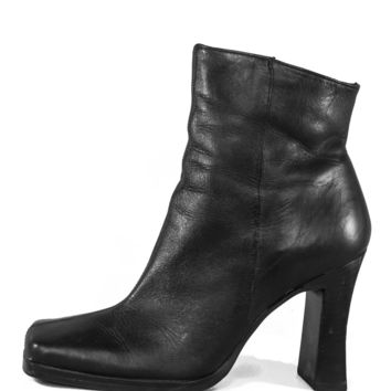 Squared Leather Booties