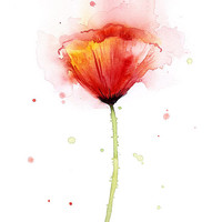 Poppy Watercolor, Abstract Red Flower Art Print, Poppies, Atmospheric Watercolor Painting, Floral Print, Giclee