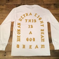 I Feel Like Pablo White Long Sleeve Tee Shirt GOLD Ultra Light Beam Kanye West Yeezy TLOP The Life of Pablo