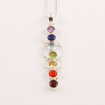 Chakra Blanced Sterling Silver Pendant