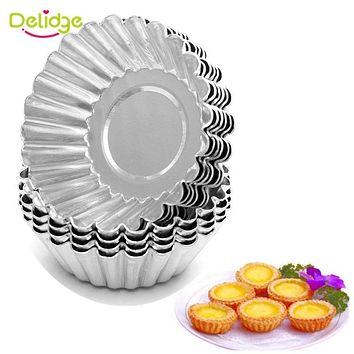Delidge 10pcs/set Flower Cake Egg Tart Mold Aluminium Alloy 7cm Cupcake Cake Cookie Mold DIY Wedding Baking Egg Tart Tools