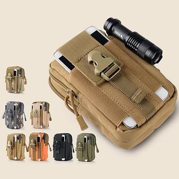Universal Outdoor Waterproof Molle Military Waist Belt Zipper Phone Bag Case Pouch For iPhone Samsung Galaxy Sony HTC LG Huawei