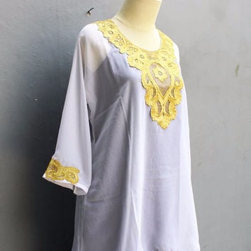 Caftan Dress Chiffon Embroidery Blouse Sarrah Kaftan Tops White Dress