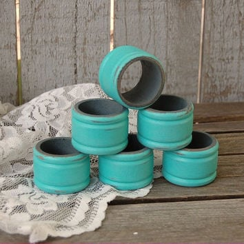 Napkin Rings, Shabby Chic, Tiffany Blue, Grey, Distressed, Set of 6, Wedding, Hand Painted, Wood