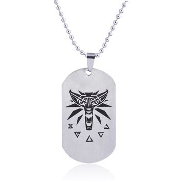 European Trend Jewelry Witcher 3 Demon Hunters Stainless Steel Pendant Necklace Men Game Metal Dog Square Tag