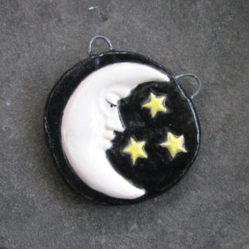 Half moon and stars ceramic pendant