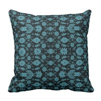 Vintage Floral Pattern - Aqua on Black Throw Pillow