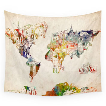 Society6 World Map Wall Tapestry