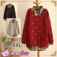 [3 Colors M-4XL] Mori Girl Style Pineapple Patterns Fake 2 Pieces Grids Shirt SP151662