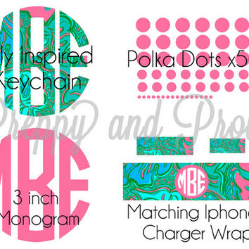 Lilly Pulitzer Inspired Present Pack|Monogram|Keychain|Iphone|Polka Dots|Birthday Gift|Hostess Gift|Gift Pack|Bundle|Monogram Sticker|Decal