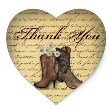 1.5inch Spring Cowboy Boots Western Country Wedding Heart Sticker