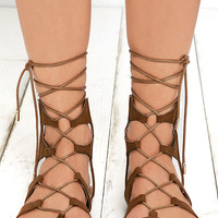 Trail Ways Tan Suede Flat Lace-Up Sandals