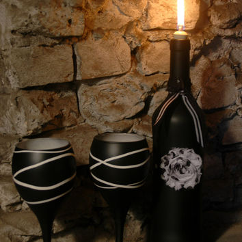 Wine Bottle and matching Wine Glasses in Black and White for an eerie cheery display