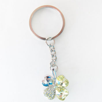 Clover Charm Keychain - Crystal Four Leaf Clover Keychain - Yellow Rhinestone Keychain - Good Luck Charm - Small Lucky Charm Gifts for Her