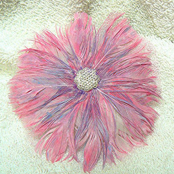 Hand painted Feather Flower Hair Comb/Brooch, Handmade, Pink, Turquoise, Purple, Prom, Bridal