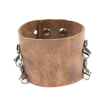 Aged Chestnut Wide Leather Cuff - Lenny and Eva