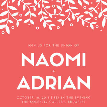 Customisable wedding invite in Leafy Love: Email or print yourself