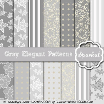 Grey LACE Paper Digital Paper, 12X12 Scrapbooking Invitation paper Gorgeous Depth and High Resolution Always Instant Download
