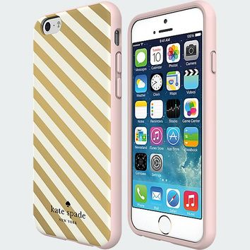 kate spade new york Flexible Hardshell Case for iPhone 6 - Gold Diagonal Stripe
