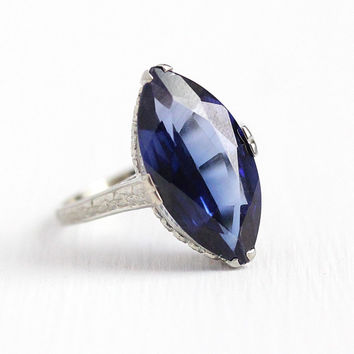 Created Sapphire Ring - 18k White Gold 5+ Carat Marquise Cut Statement - Size 5 1/2 September Birthstone Dark Blue Stone Flower Fine Jewelry