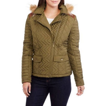 Maxwell Studio Women's Quilted Chevron Puffer Coat  Fur-Trim Hood, Olive, XXL