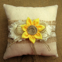 Rustic Country Chic Sunflower Wedding Ring Pillow,Rustic Country Chic Wedding Decor, Sunflower 8 x 8 inch Ring Bearer Pillow