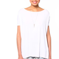 Bamboo Scoop Tee - White