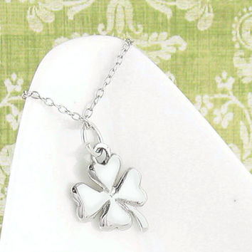 Good Luck Four Leaf Clover Necklace in Sterling Silver